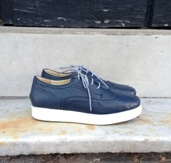 Perforated Blue full-grain cowhide Leather Sneakers - buy online