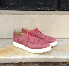Perforated purple full-grain cowhide leather sneakers - buy online