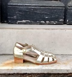 Silver metallic leather sandal - buy online