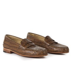 Croc-effect Authentic Leather Moccasins - buy online
