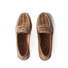 Croc-effect Authentic Leather Moccasins - online store