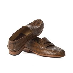 Image of Croc-effect Authentic Leather Moccasins