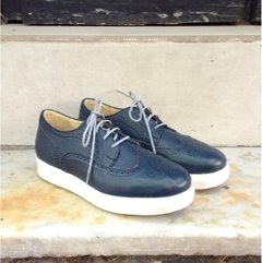 Perforated Blue full-grain cowhide Leather Sneakers