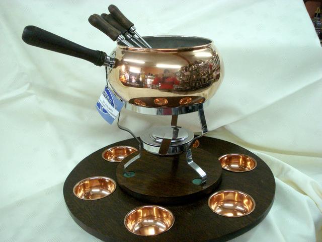 Fondue de cobre c cazuelas cubiertos y base giratoria - Cazuelas de cobre ...