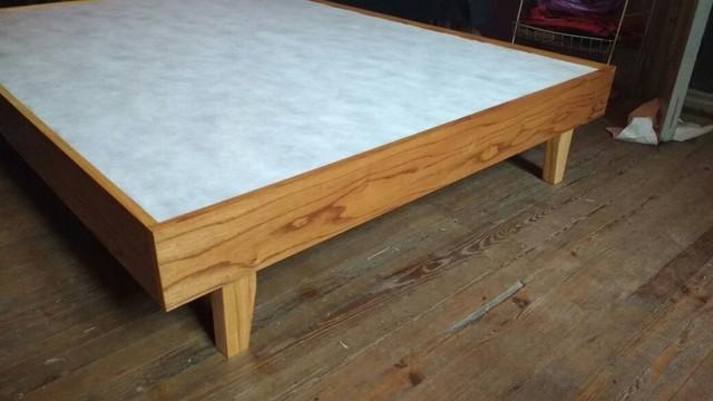 Cama base para colch n en madera para so 2 plazas for Cama 2 plazas madera