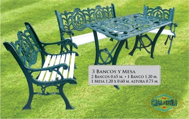 Juego artistico grande fundicion hierro for Juego de jardin fundicion aluminio