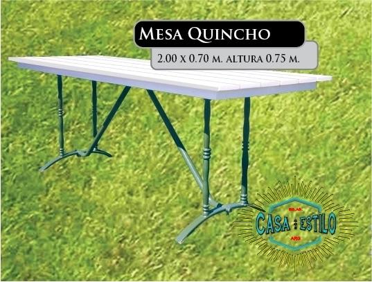 Mesa de quincho 200 x 80 fundicion de hierro filfer for Juego de jardin fundicion aluminio
