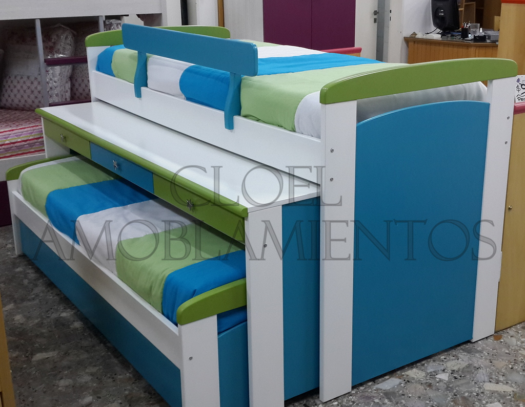 Cama nido triple con escritorio linea mdf for Cama compacta con escritorio