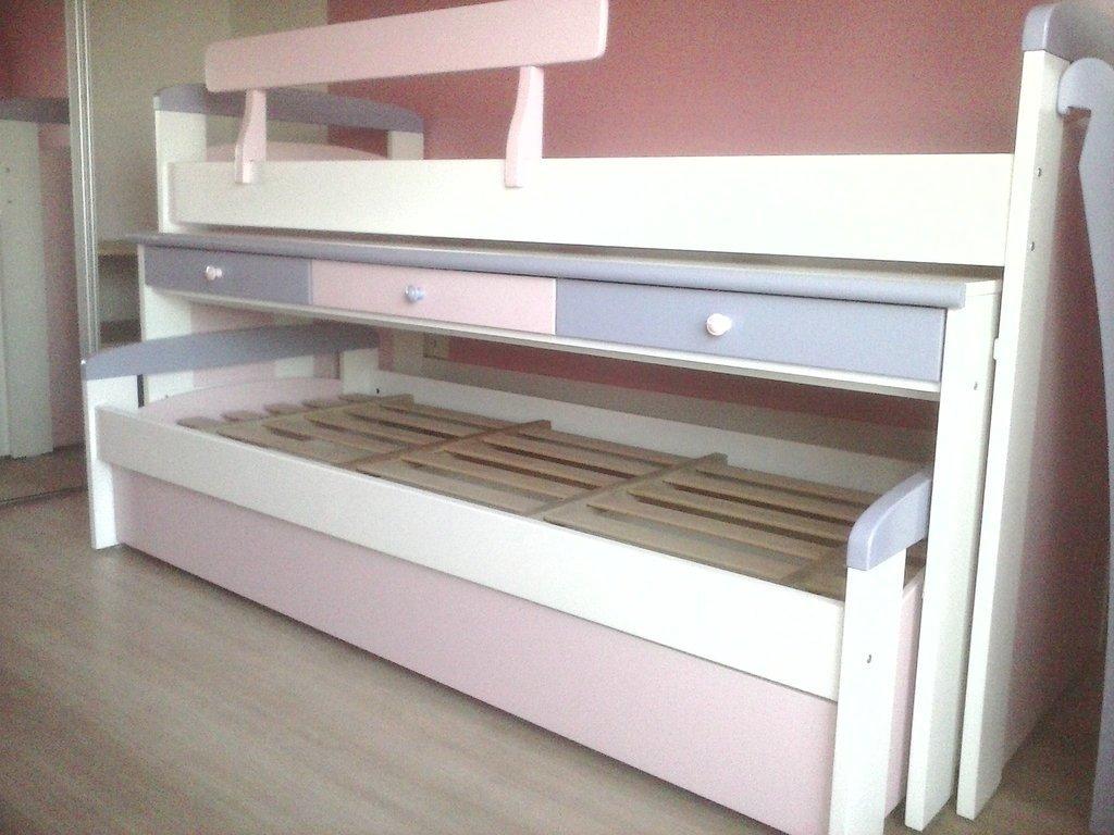 Cama nido con escritorio escalera baranda linea mdf - Escaleras para camas nido ...
