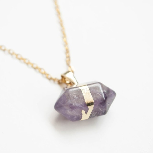 Collar Gold Quartz Morado