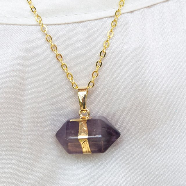 Collar Gold Quartz Morado en internet