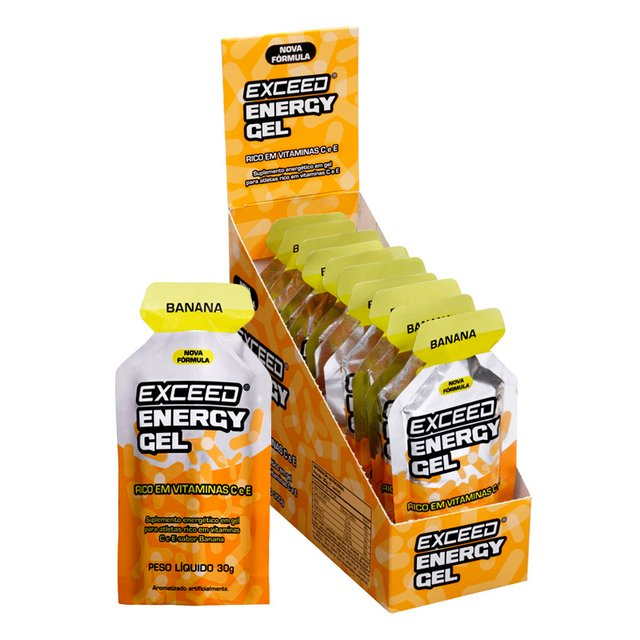 Exceed Energy Gel Display com 10 sachês 30g Sabor Banana - comprar online