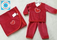 CONJUNTO PLUSH RAYADO BORDADO SUGGA