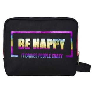 Bolsito BE HAPPY - Negro estampa Multicolor