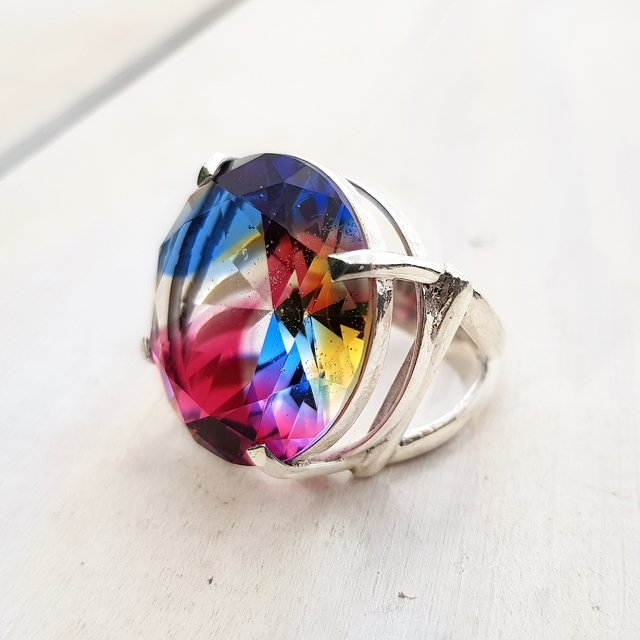ANILLO CRISTAL  ARCOIRIS XL en internet