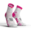 MEIA COMPRESSPORT PRO RACING SOCKS V3.0 RUN BRANCA E ROSA