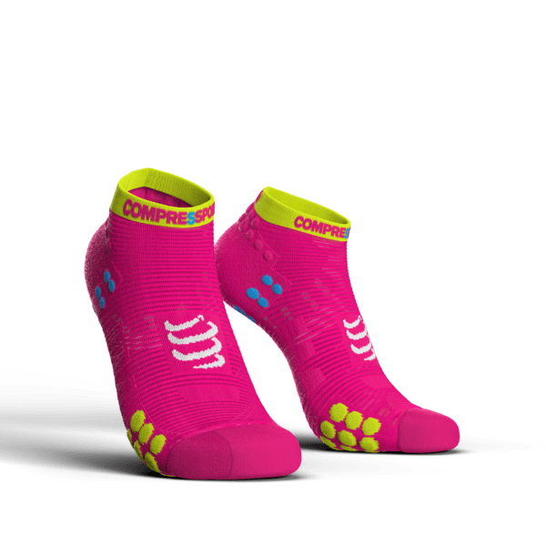 MEIA COMPRESSPORT PRO RACING SOCKS V3.0 RUN CANO CURTO ROSA