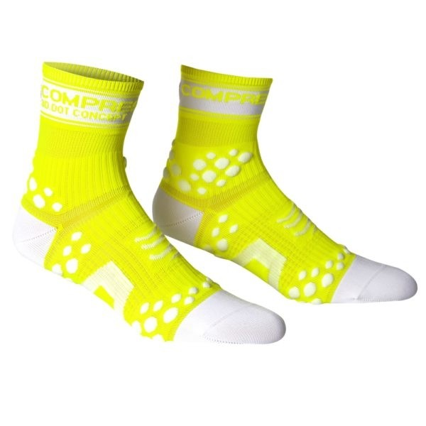 Meia Compressport Pro Racing Socks Fluo Amarela
