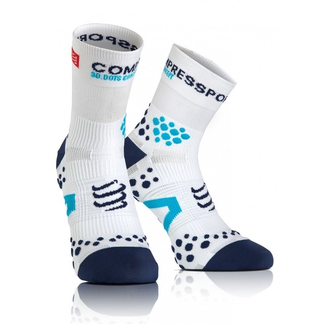 MEIA COMPRESSPORT RUN PRO RACING SOCKS V2.1 CANO ALTO BRANCA E AZUL