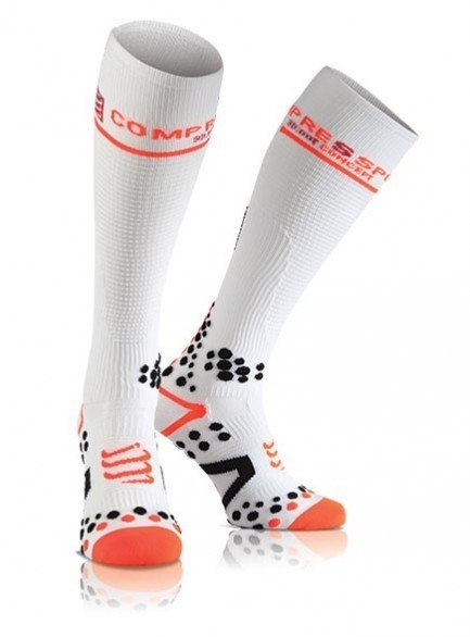 Meia Compressport V2 Full Socks Branca