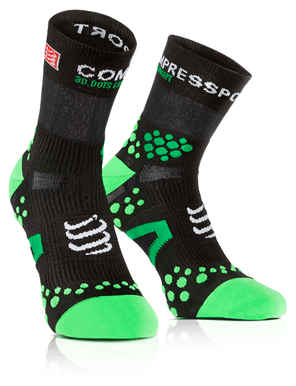 MEIA COMPRESSPORT RUN PRO RACING SOCKS V2.1 CANO ALTO PRETA E VERDE