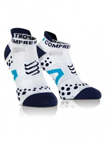 MEIA COMPRESSPORT PRO RACING SOCKS V2.1 RUN CANO CURTO BRANCA E AZUL
