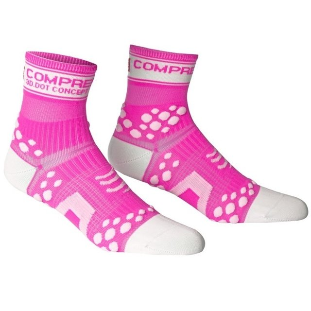 Meia Compressport Pro Racing Socks Fluo Pink