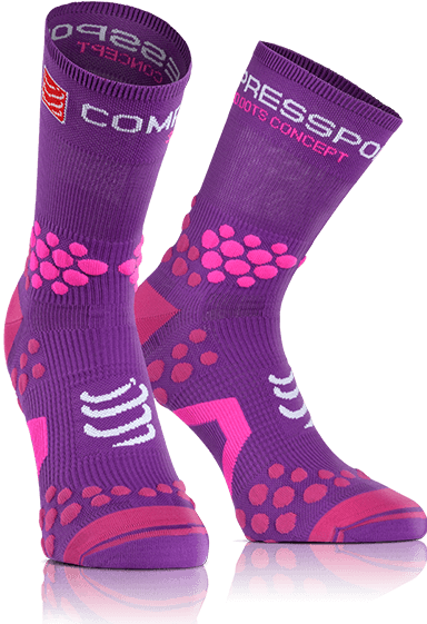 MEIA COMPRESSPORT TRAIL V2.1 PRO RACING SOCKS CANO ALTO VIOLETA