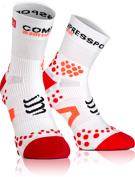 MEIA COMPRESSPORT RUN PRO RACING SOCKS V2.1 CANO ALTO BRANCA E VERMELHA