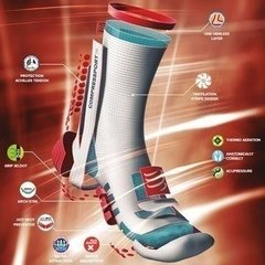MEIA COMPRESSPORT PRO RACING SOCKS V3.0 RUN BRANCA E ROSA - TRI Designs