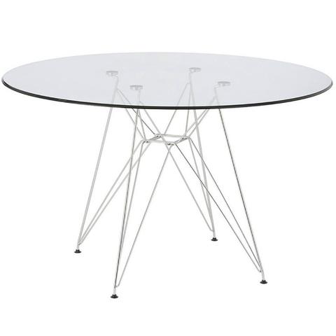 Mesa comedor eames redonda vidrio patas cromadas 1 20 - Patas cromadas para mesa ...