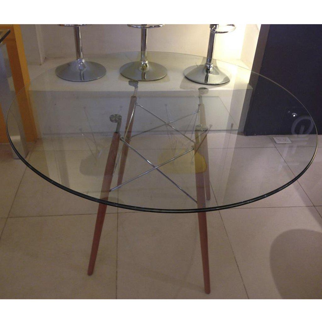 Mesa comedor eames redonda vidrio patas madera 1 20 for Mesa vidrio