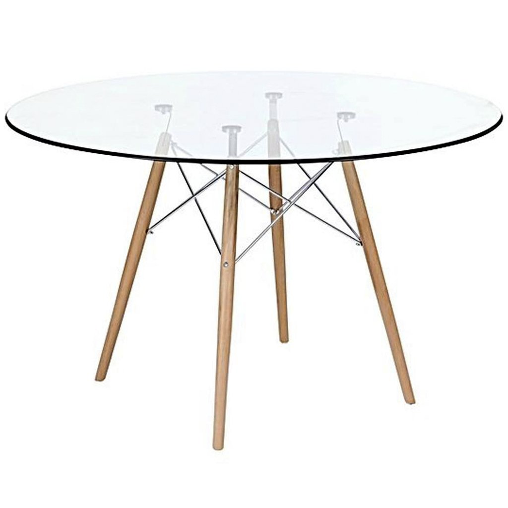 Mesa comedor eames redonda vidrio patas madera 1 20 for Mesa comedor vidrio