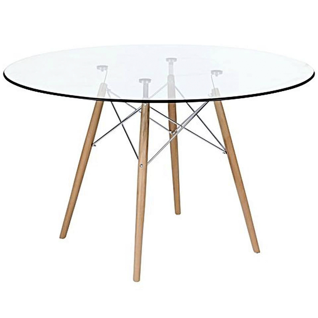 mesa comedor eames redonda vidrio patas madera