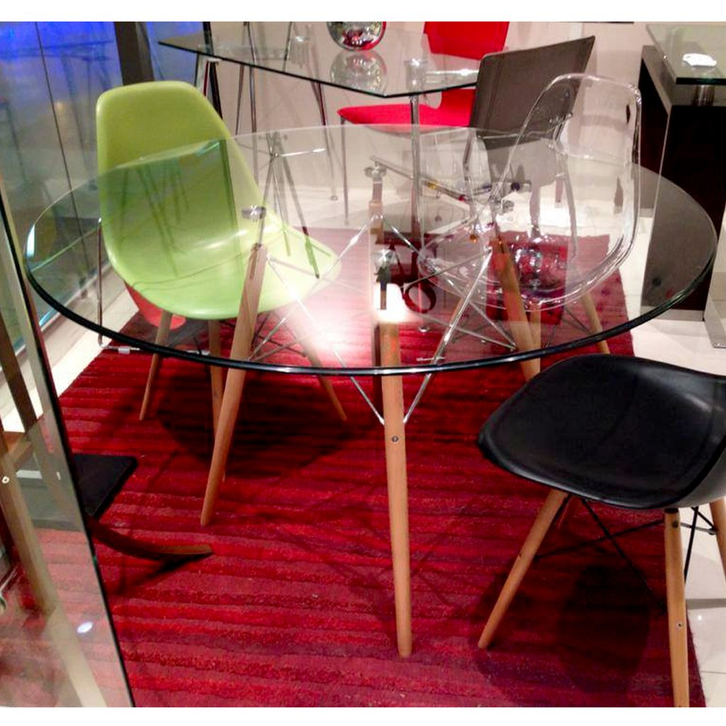 Mesa comedor eames redonda vidrio patas madera 1 20 - Mesa comedor vidrio ...