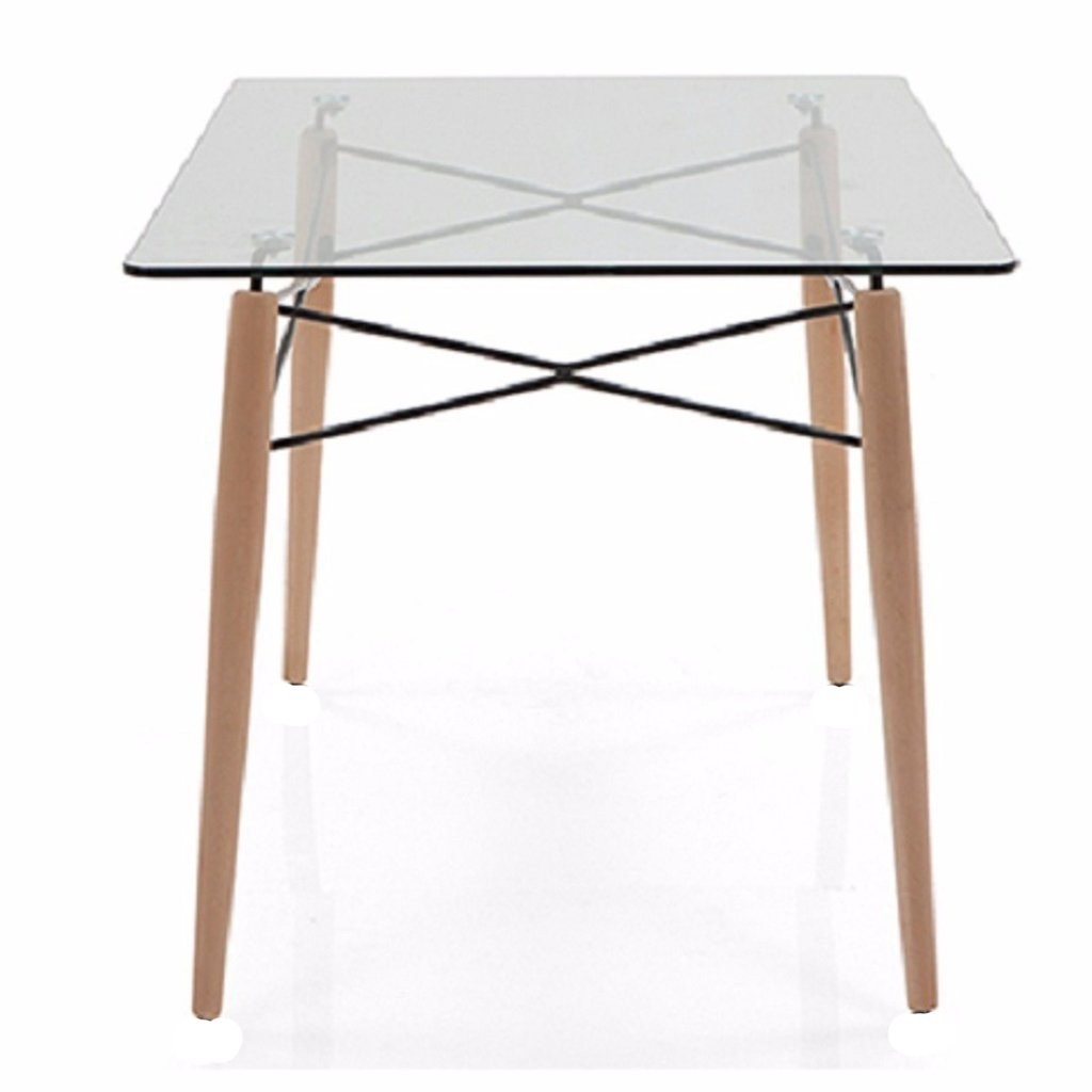 Mesa comedor eames vidrio pata madera 1 40x90 for Mesa comedor vidrio