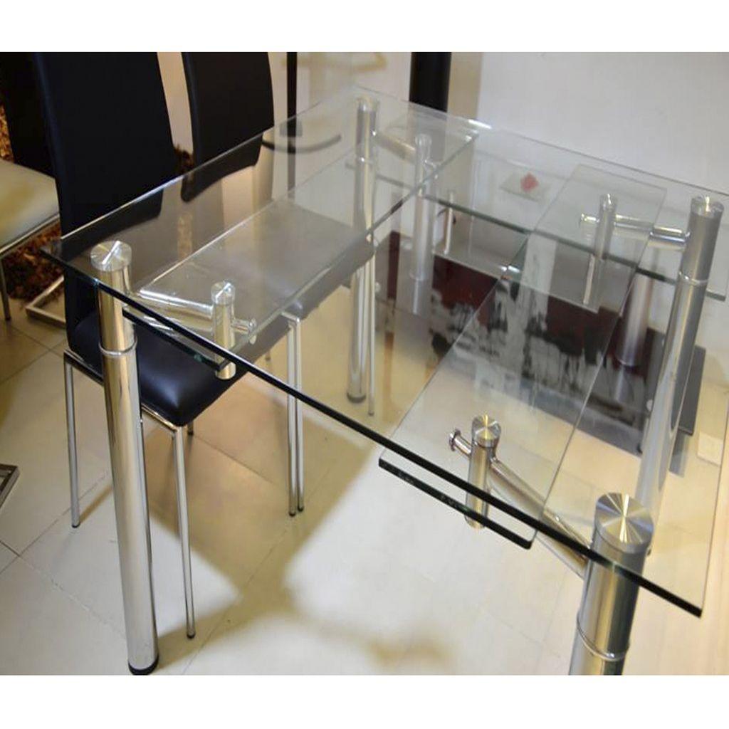 Mesa comedor extensible cuadrada 1 26x1 26 a 1 76 vidrio for Mesa vidrio