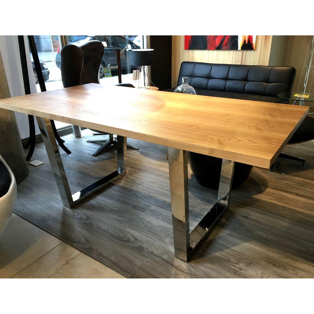Mesa comedor tapa madera maciza patas cromadas 1 80x90 for Mesas de comedor rectangulares