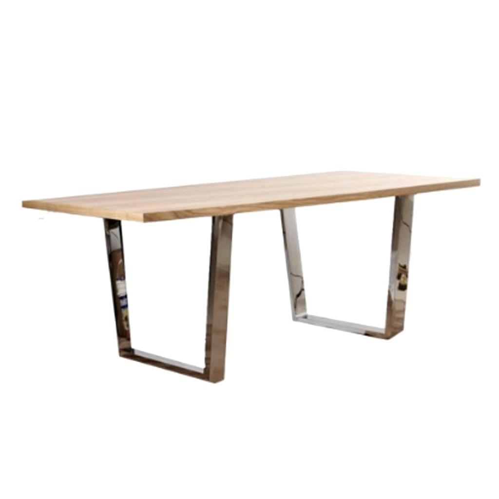Mesa comedor tapa madera maciza patas cromadas 1 80x90 - Patas conicas para mesas ...