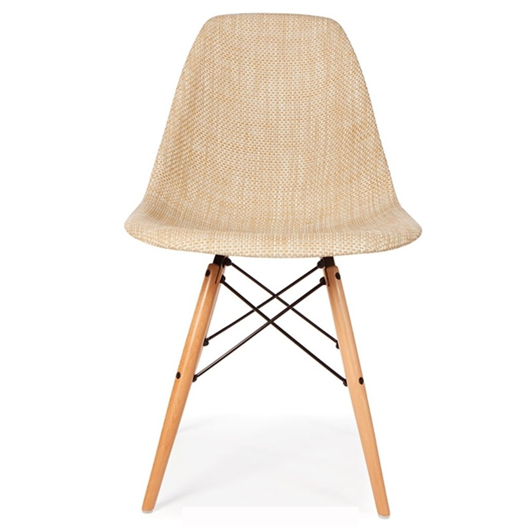 silla eames tapizada pata madera beige - Eames Silla
