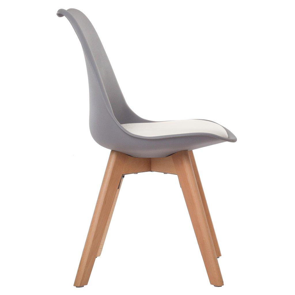 Silla tulip pata madera asiento gris almohad n blanco for Silla blanca patas madera