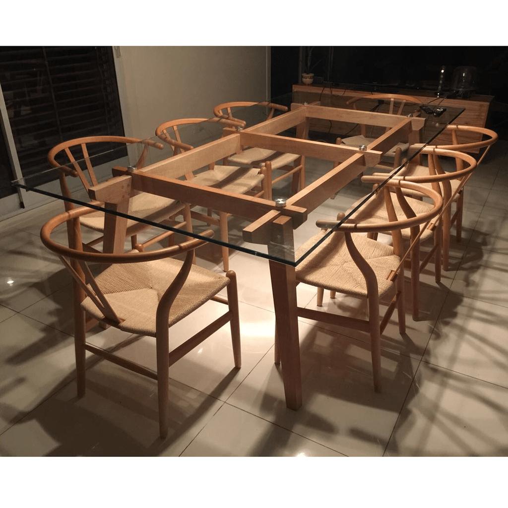 Mesa comedor madera y vidrio 12mm 150x80 a medida for Mesa comedor madera cristal