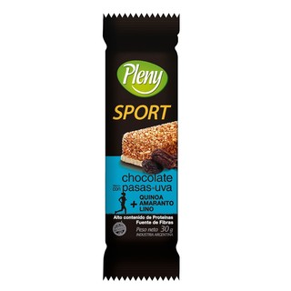 Barra cereal chocolate con pasas Pleny Sport