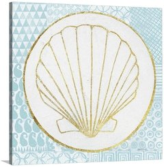 Summer Shells IV Teal and Gold