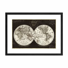 Hemisphere I Black Map - Sur Arte Shop - Cuadros