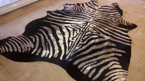leather zebra cowhide rug