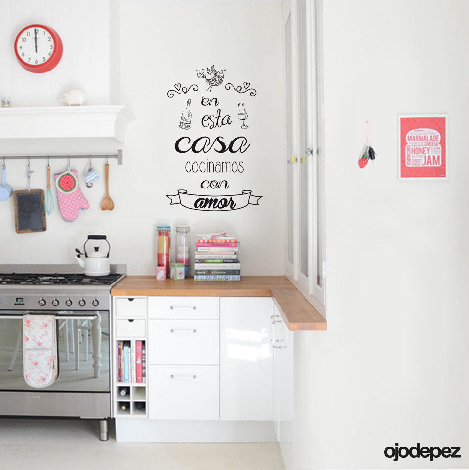 Frase 013 cocinamos con amor for Vinilos decorativos casa