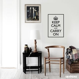 Vinilo decorativo Frase Keep calm and carry on (Mantén la calma y continúa).