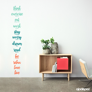 Vinilo decorativo Frase Positive life. think positively, exercise daily, eat healthy, work hard, stay strong, worry less, dream big, read more, be happy, relax, love, live.
