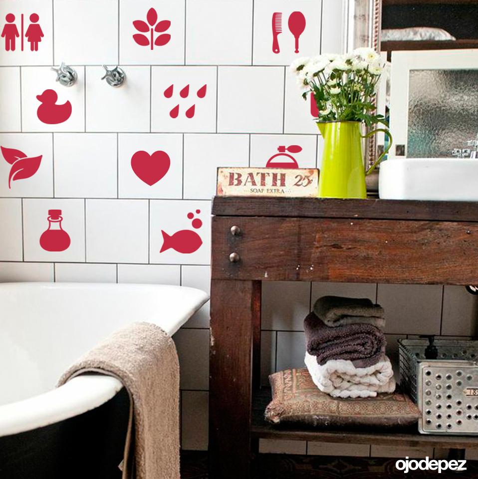Pack 049 azulejos para el ba o for Vinilos pared azulejos